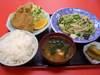 野菜炒め+アジフライ