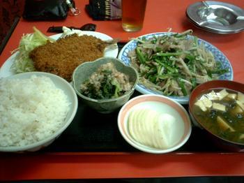 ニラ肉炒め・鯵フライセット
