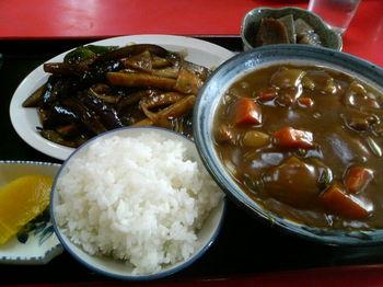 茄子ピリ辛炒・カレーうどん