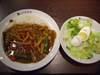 チキンと夏野菜カレー+玉子サラダ