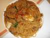 若鶏とモッツァレラチーズのラグソーススパゲティ